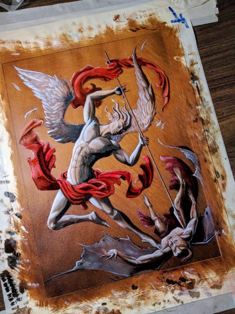 Progress Shot Michael the Archangel Oil Painting Seth Keller